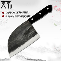 XYj Handmade Chinese Chopping Kitchen Knife Full Tang Chef Knife Forged Clad Steel Bone Cleaver Slicing Broad Butcher Knives