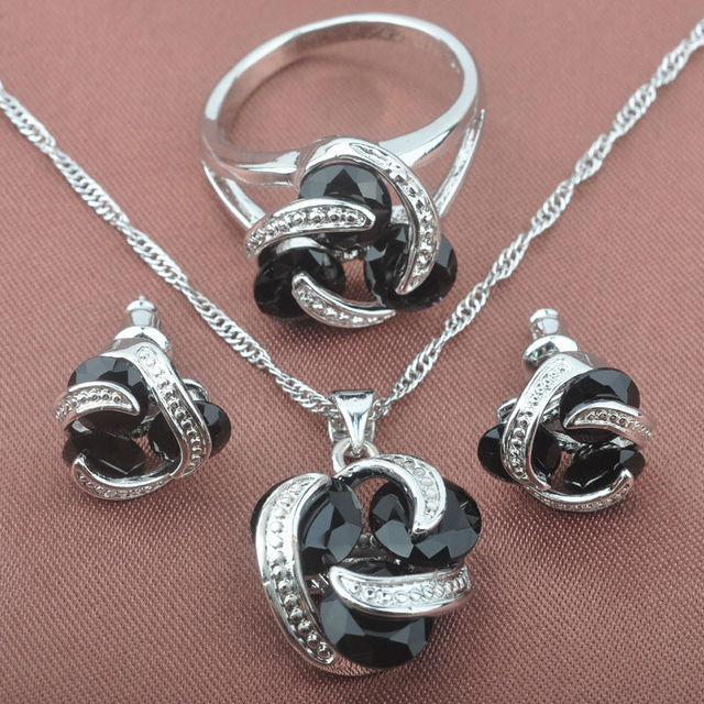 Classic Black Cubic Zirconia For Women 925 Sterling Silver Jewelry Sets Necklace