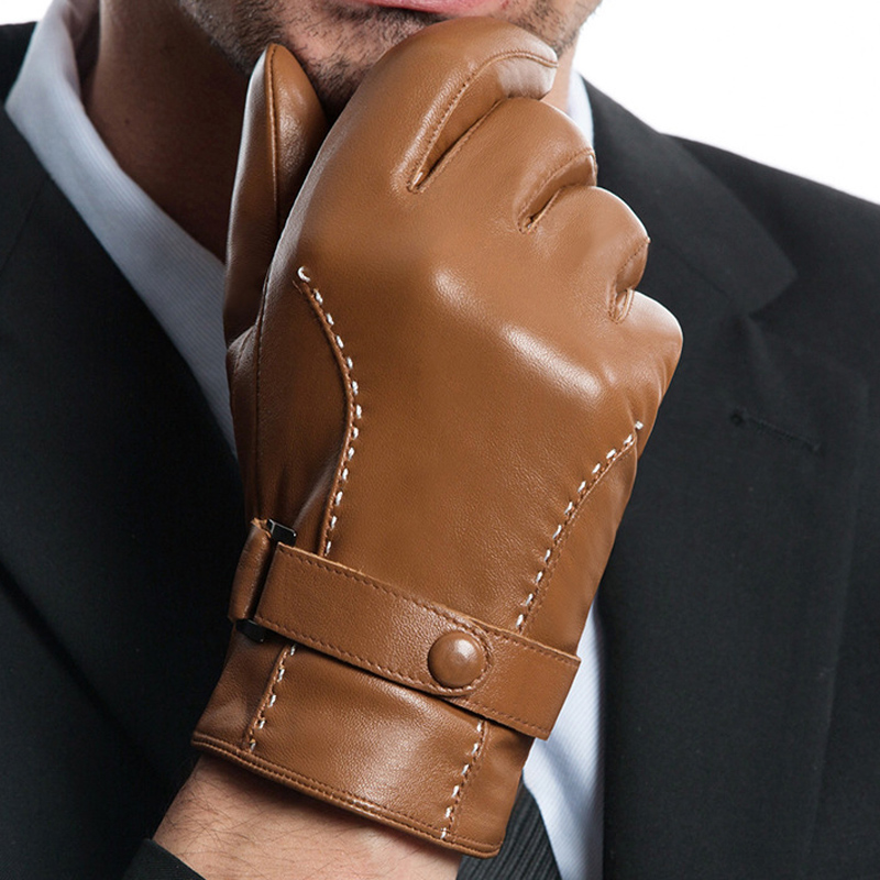 Genuien Leather Gloves Mans Touchscreen Thicken Warm Male Driving Plus Velvet Sheepskin MLZ103