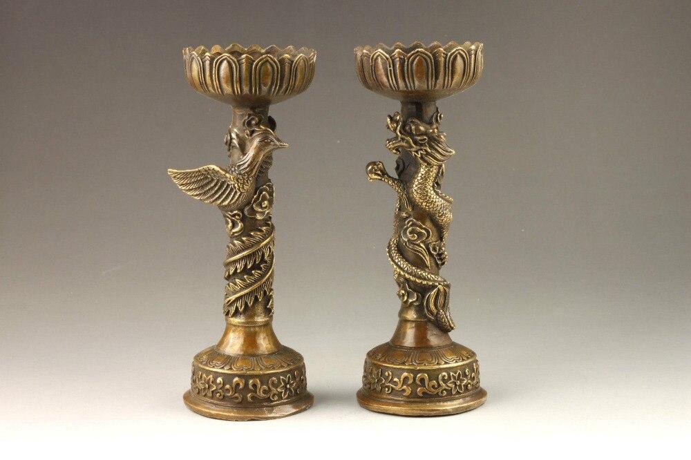 Chinese Handmade Fine Dragon And Phoenix Bronze Candlestick Pair