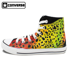 Hand Painted Shoes Man Woman Converse All Star Colorful Leopard Custom Original Design High Top Canvas Sneakers Unique Gifts