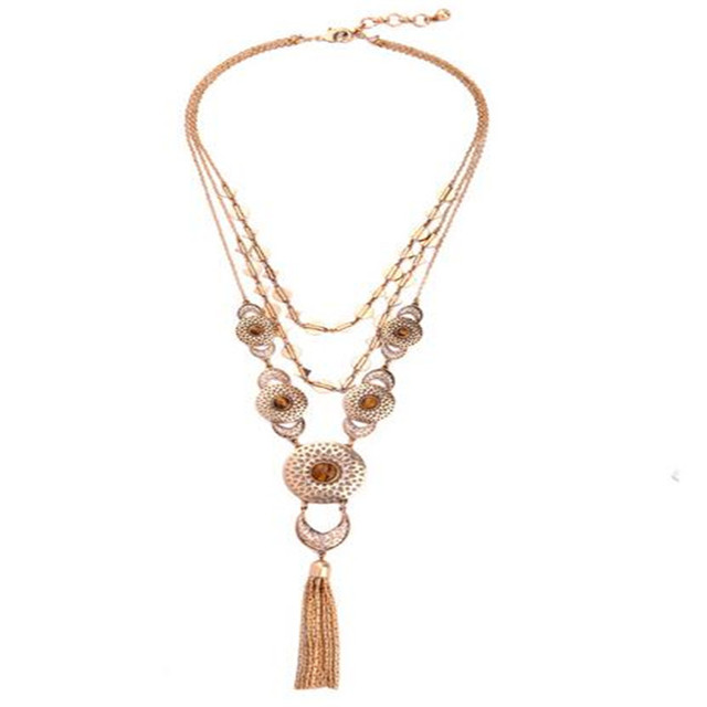 Trendy women femme bijoux jewelry three layers long chain necklaces um colar opal long tassel pendant perfume feminino necklace