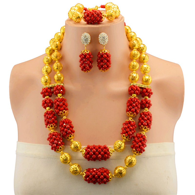 African Beads Jewelry Sets Red Classic Style Gold-color Bridal Wedding Accessories Necklace Bracelet Earrings SetAfrican Beads Jewelry Sets Red Classic Style Gold-color Bridal Wedding Accessories Necklace Bracelet Earrings Set