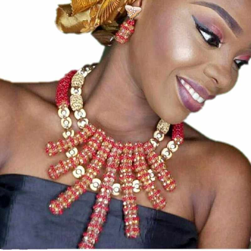 Bling Fine Jewelry Set Red Gold African Beads Necklaces For Women Balls Bridal Jewellery Set Indian Free Shipping Fashion Set
