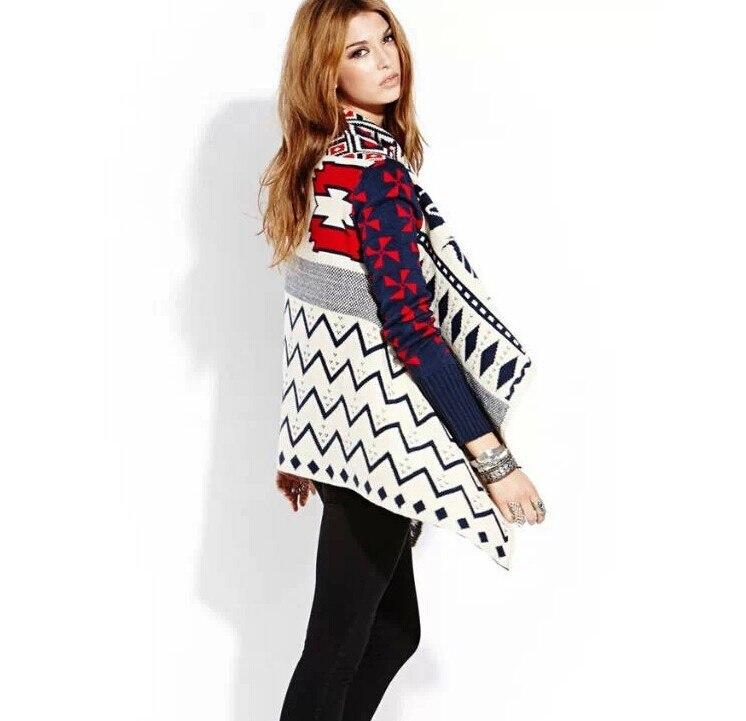 2014 otoño invierno modelo geométrico mujeres hicieron punto la capa ...