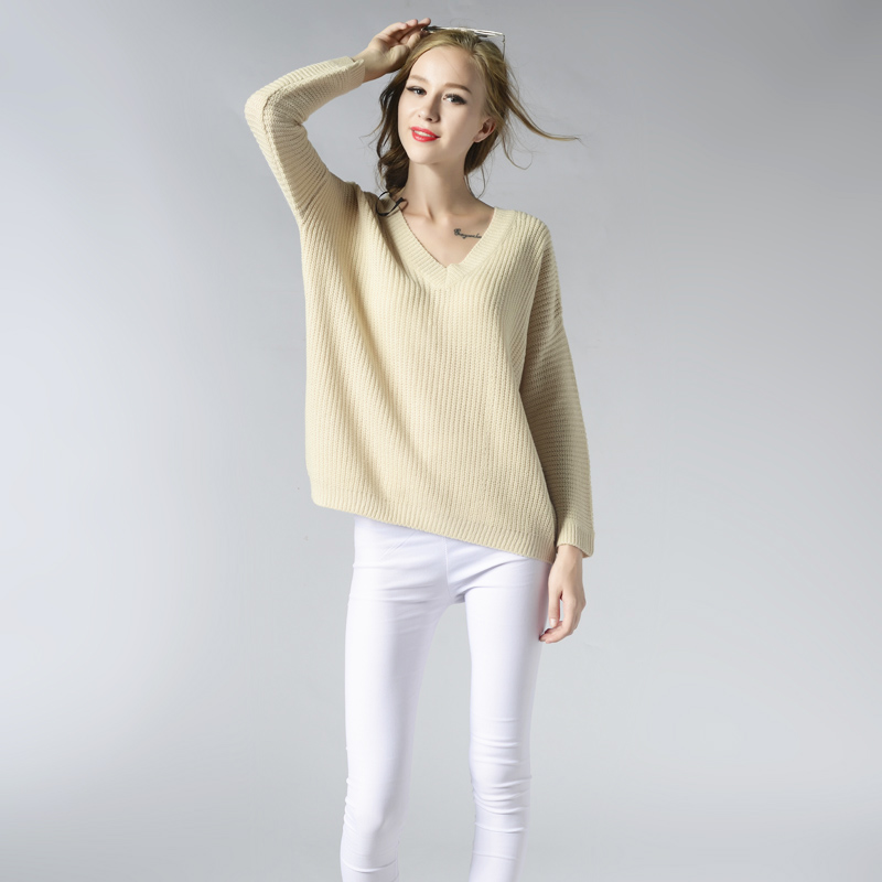 Fashion Autumn Winter Sweater Womens V Neck Loose Knitted