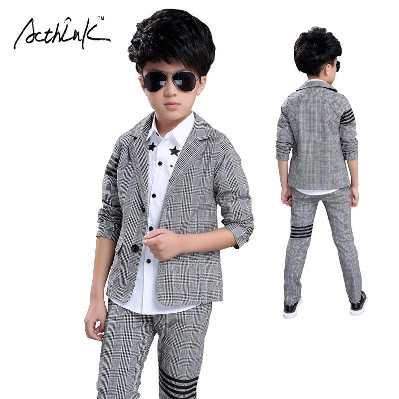 ActhInK New 3PCS Boys Formal Party Dress Suit Star Dress Shirt+Plaid  Blazer+Suit Pant for Boys Wedding Wear Kids Clothing caea108cc