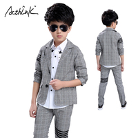 ActhInK New 3PCS Boys Formal Party Dress Suit Star Dress Shirt+Plaid Blazer+Suit Pant for Boys Wedding Wear Kids Clothing, MC020