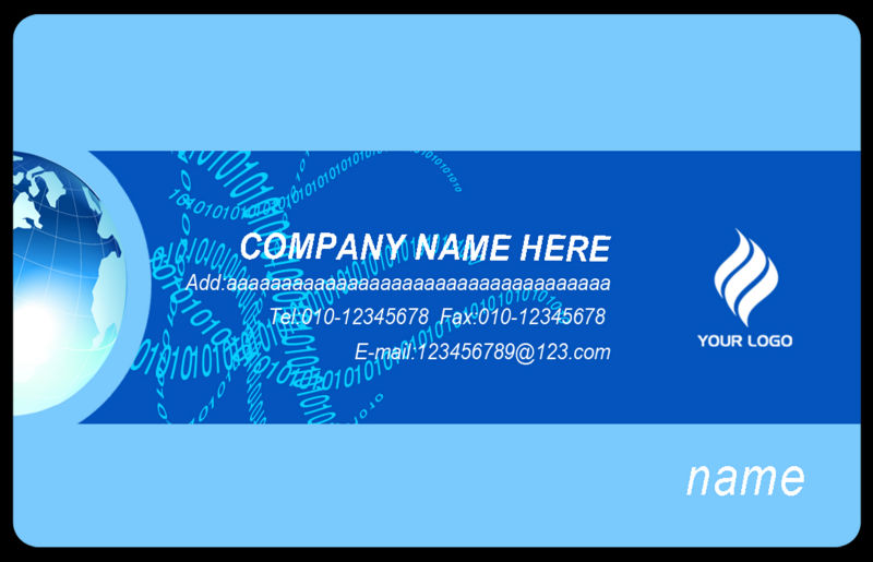 Y0016 blue earth business card template round corner