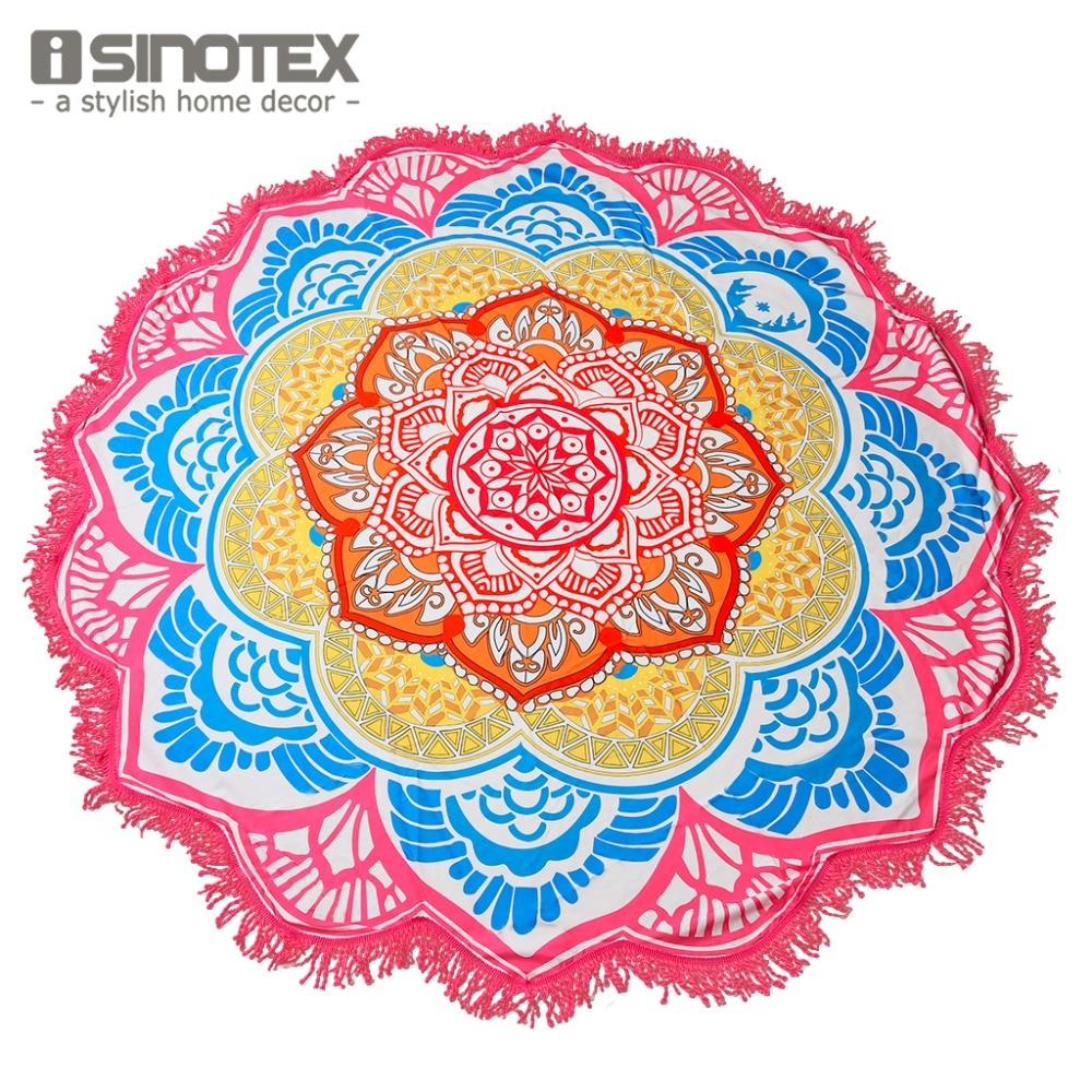 Mandala Beach Towel Indian Large Lotus Printing Yoga Mat Round Tassel Tapestry Totem Blanket Hippy Boho Tablecloth 150cm/59''