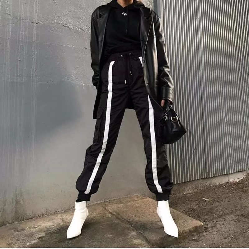 Streetwear Cargo   Pants   Women Casual High Waist Loose Female Trousers Korean Style Ladies   Pants     Capri   Black Reflective   Pant