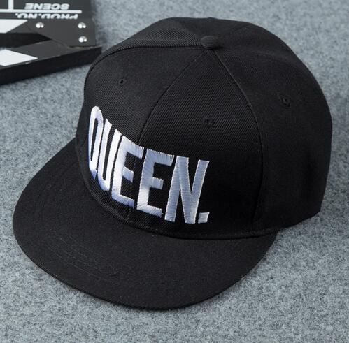 50pcs/lot fedex fast free shipping KING QUEEN Baseball Cap Men Women Mesh Summer sun cap Snapback Caps white black 58cm