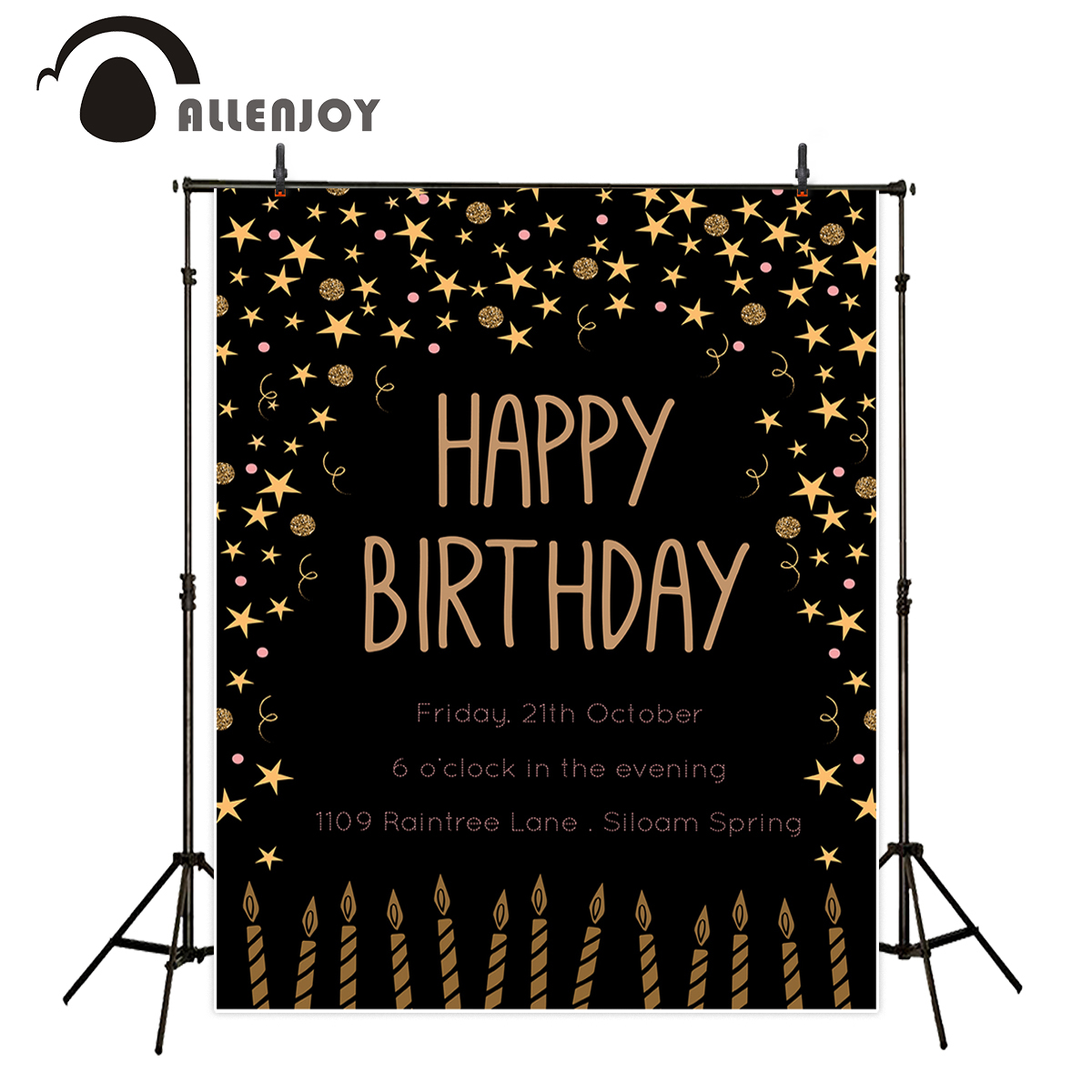 Allenjoy photography backdrops happy birthday star candle gold celebrate custom personal design DIY photocall backdrop vinyl sweet berry go and celebrate happy team