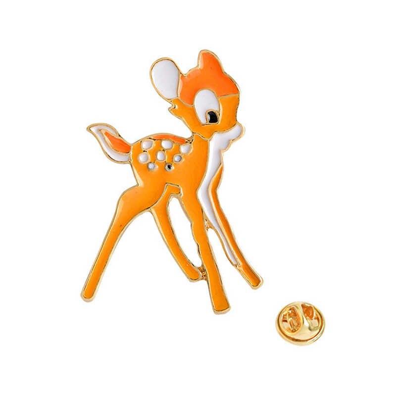 1,9x3,2 cm lindo Animal ciervo insignia 3D naranja esmalte Pin broche para niños niñas camiseta Collar abrigo bolsas de regalo de Navidad