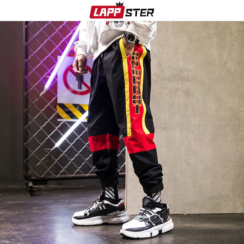LAPPSTER Men Color Block Streetwear Joggers Pants 2019 Hip Hop Side Striped Track Pants Man Japan Style Black Trousers Plus Size