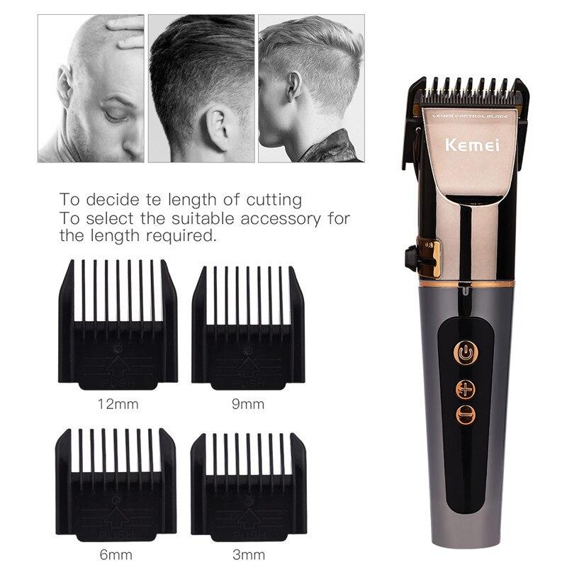 Kemei 4 vitesses ajuster professionnel tondeuse à cheveux tondeuse pour hommes LCD Rechargeable barbe rasoir Trimer coupe-cheveux Machine de découpe - 2