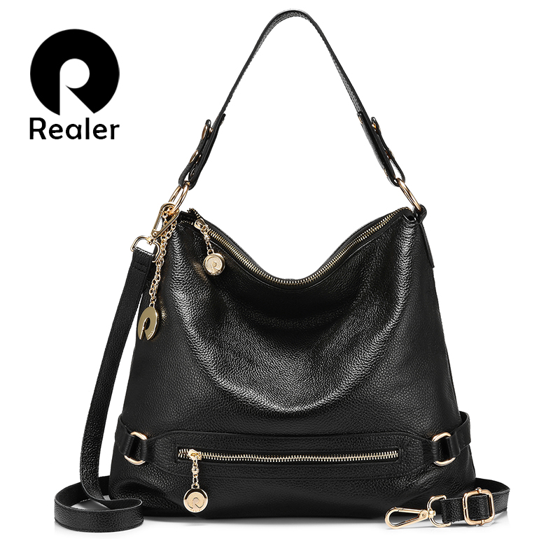 REALER women handbag ladies genuine leather messenger bag women's big shoulder crossbody bag female large tote bag zipper