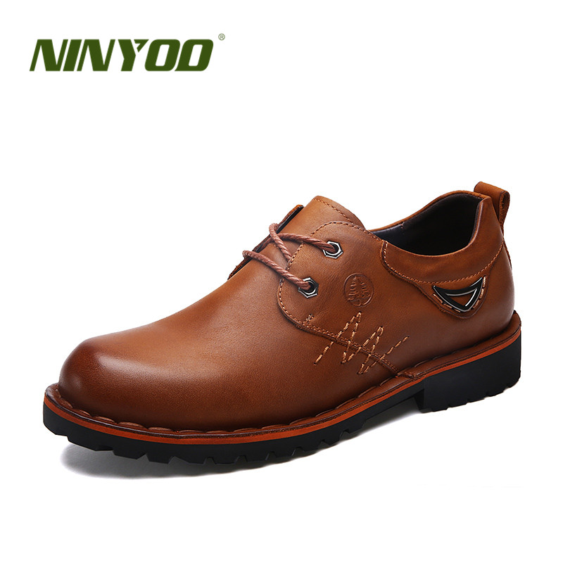 NINYOO Autumn Outdoor Men's Work Shoes Genuine Leather Casual Wearproof 45 46 Rubber Platform Shoes Man Big Size 47 48 49 50
