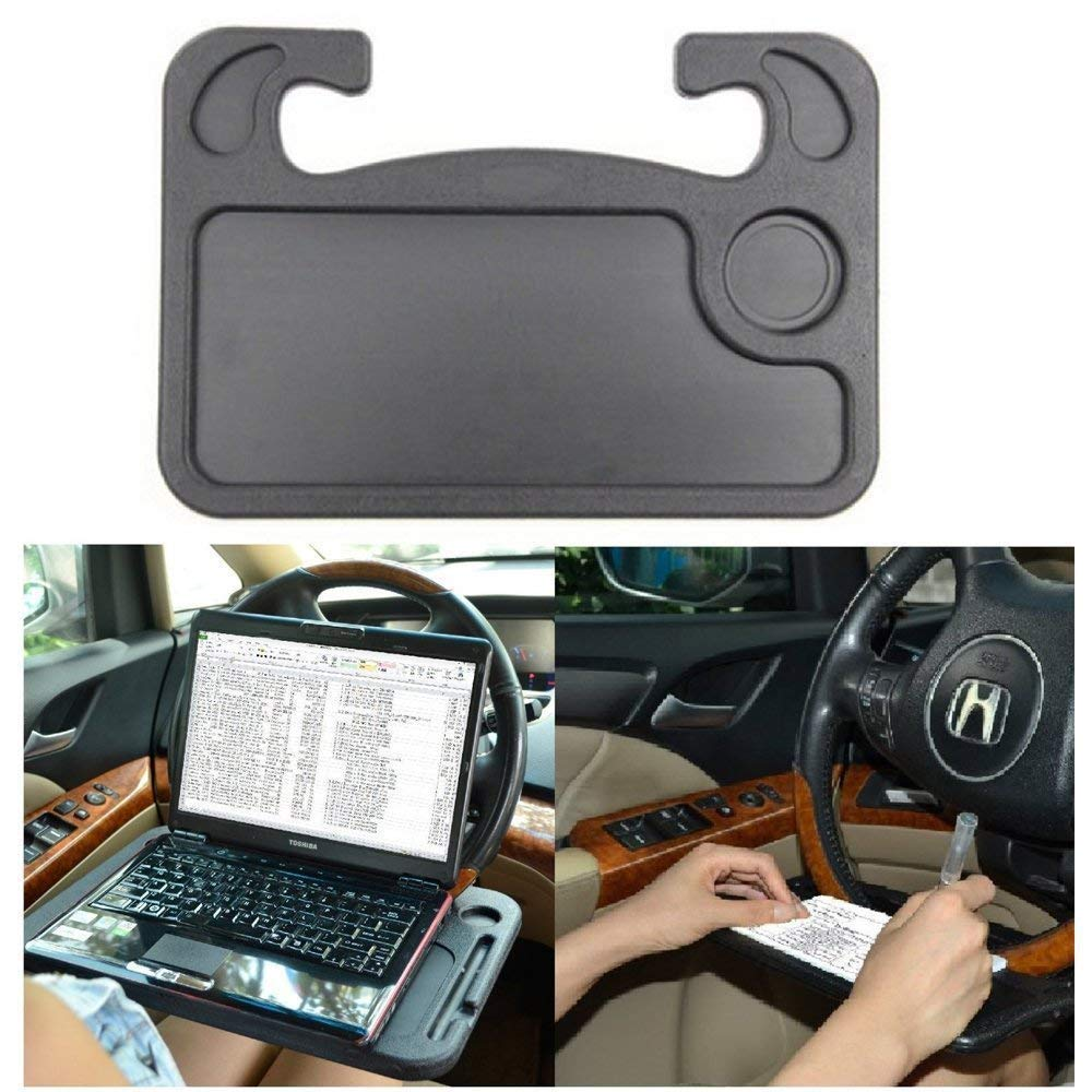 Car Table Steering Wheel Tray And Vehicle Seat Mount Notebook Laptop Eating Desk,Car Food Eating Tray,Black