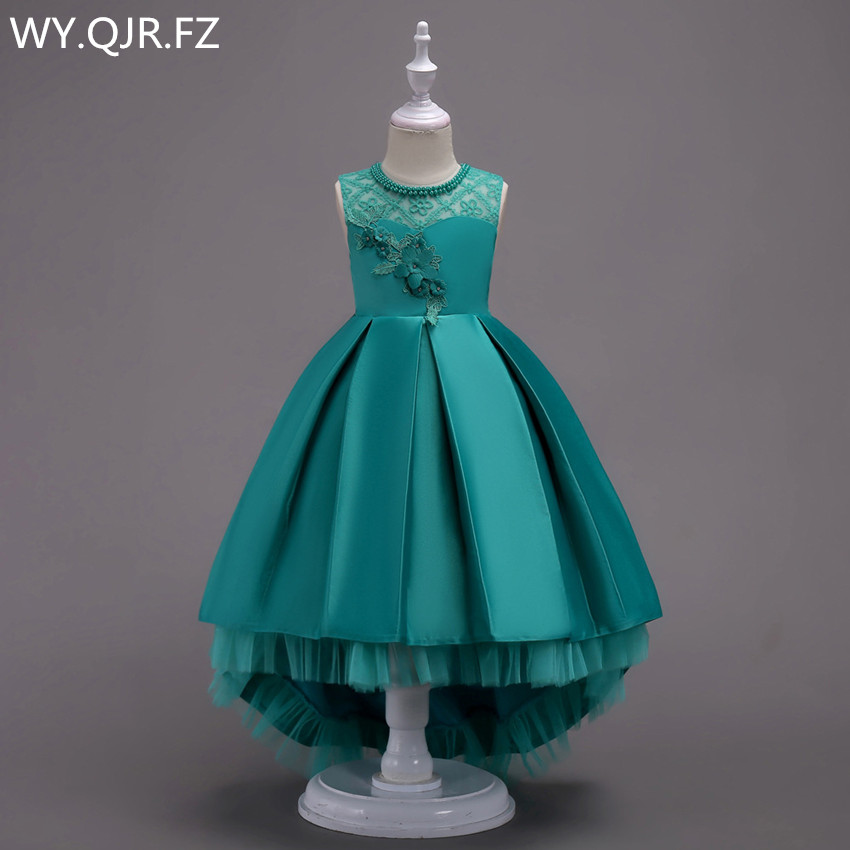 BH580#Green Pink Blue Trailing Lace Flower Girl Dresses Party Prom Children's Performance Dress Wholesale European American