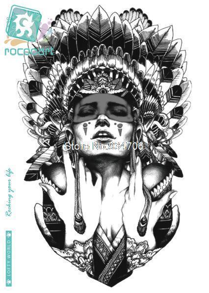 Rocooart LC-538 Для женщин большой татуировки Стикеры индийский Стиль ведьмы перо Обложка Цветной Дизайн Временные татуировки Стикеры s тати