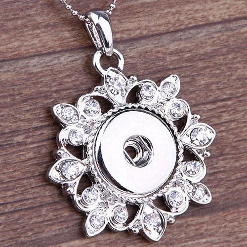 wholesale1pcs/lot  New Fashion DIY Snaps Jewelry Silver Hollow Flower Snaps Button Pendant Necklace Wholesales snap button jewelry
