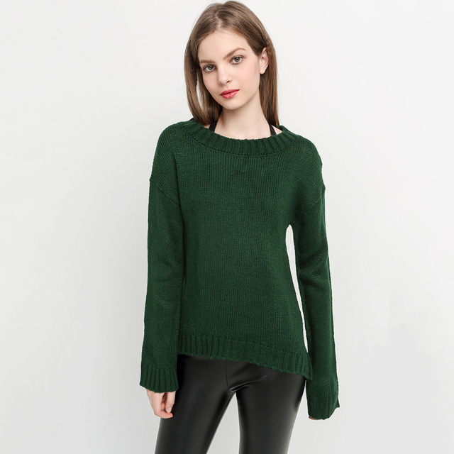 My Mayaasos Office Lady New Autumn Solid Green Sweater Fashion Women Pullover Loose Casual Crew Neck