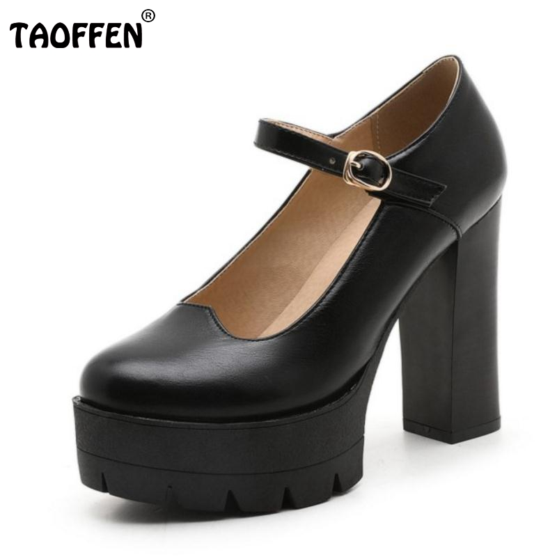Size 34-43 New High Heels Shoes Women Pumps Platform Fashion Round Toe Leisure Thick Heels Shoes Soft Slip-On Footwear black ladies cool casual pumps wedge korean slip on high heels suede creepers big size 4 34 green platform shoes round toe