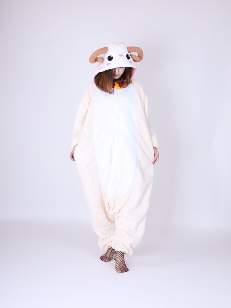 Novelty Animal Goat Onesie for Women Men All In One Sheep Cosplay Costumes Adult Unisex Pajamas