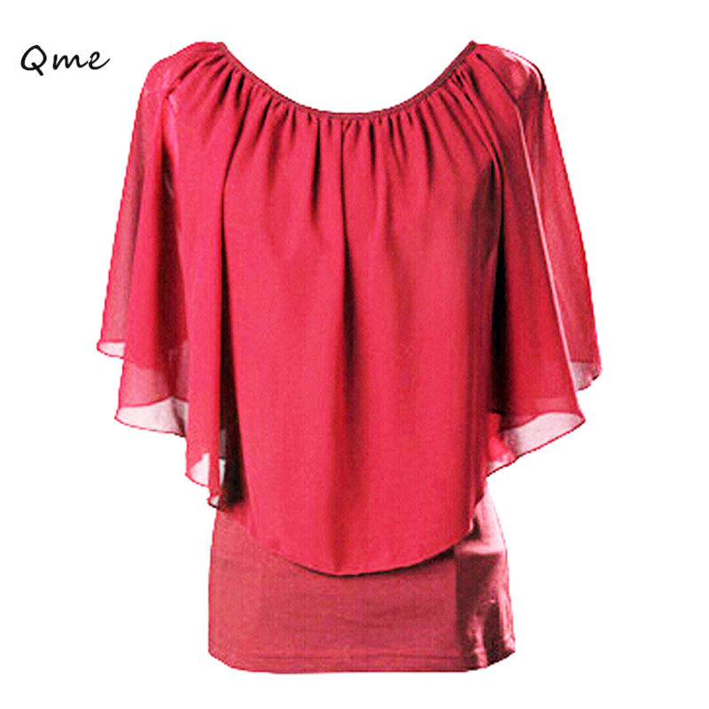 Women tops black chiffon blouse fashion short sleeve Floaty Cape Blouse  plus size tops big size women s clothing shirts WC072-in Blouses   Shirts  from ... 443567331187