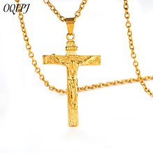 OQEPJ Religious Jesus Cross Necklace&Pendant 316L Stainless Steel Silver Gold Color Necklaces For Men Exquisite Jewelry Gifts
