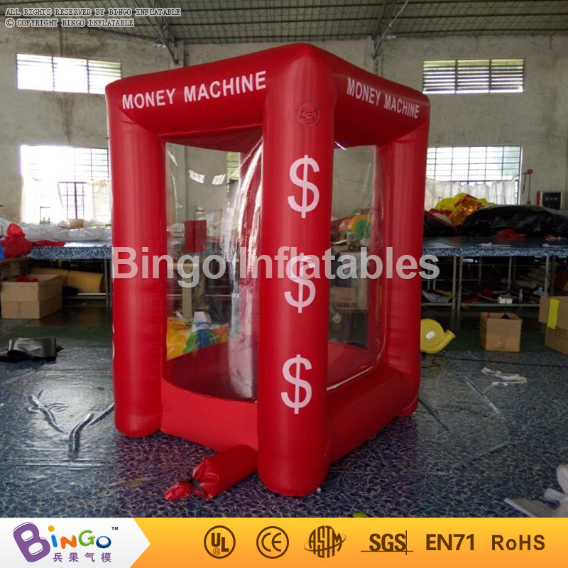 Customized red color 1.7X1.5X2.2 Meters inflatable cash grab machine promotional cubic inflatable money booth toy tents футболка toy machine leopard brown