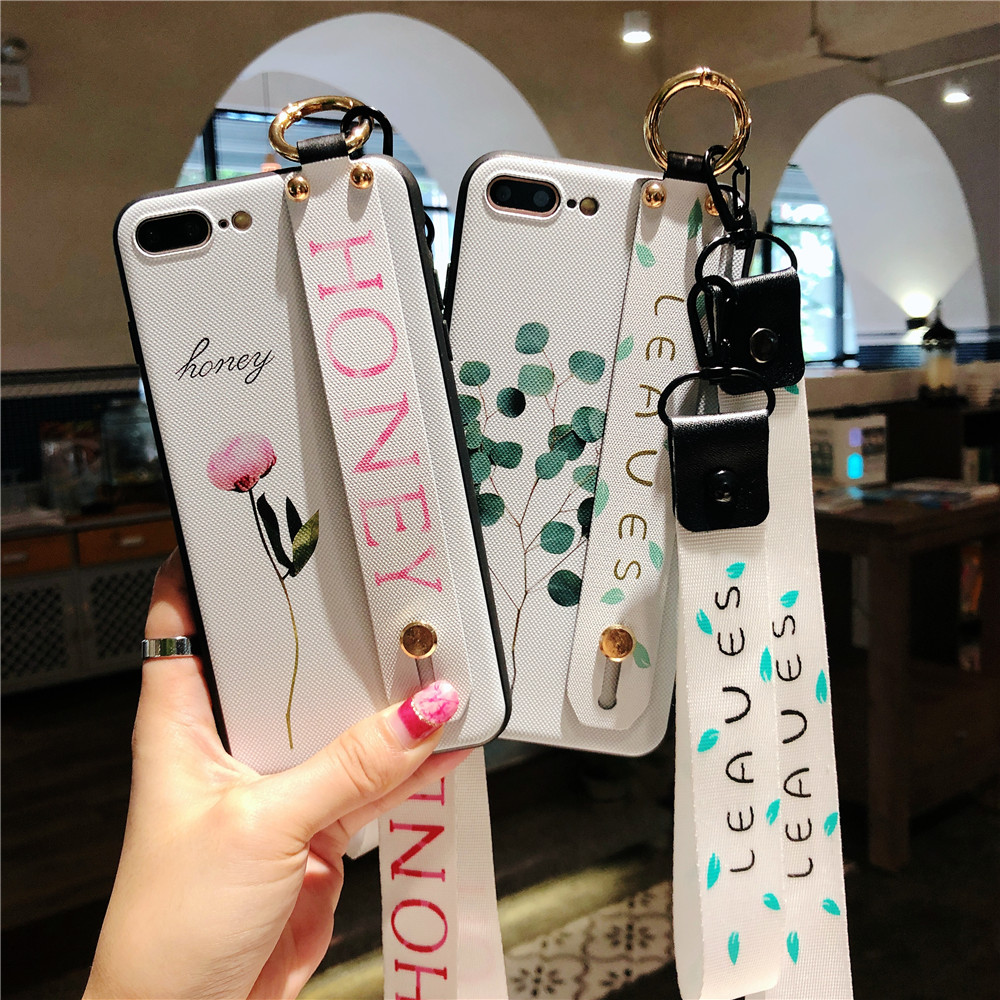 Fashion Floral 3D Leaves Wrist Strap Phone Case For iPhone X XR XS XS 6 6s 7 8plus Max with Lanyard Neck Strap Wrist Strap Cover iPhone