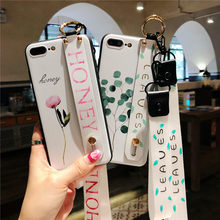Fashion Floral 3D Leaves Wrist Strap Phone Case For iPhone X XR XS XS 6 6s 7 8plus Max with Lanyard Neck Strap Wrist Strap Cover(China)