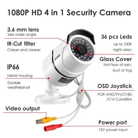 ZOSI 2.0 MP 1080P 4 in1 TVI/CVI/AHD/CVBS Security Cameras Day Night Surveillanca Camera 100ft IR Distance,Aluminum Metal Housing Islamabad