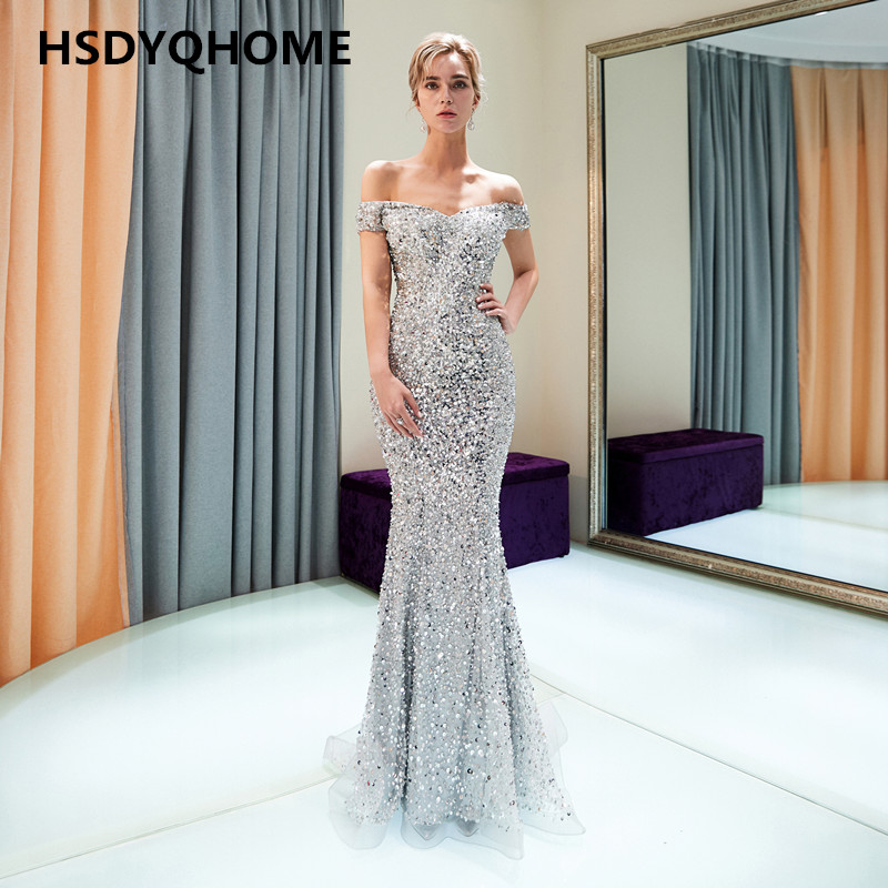 HSDYQHOME Sexy mermaid Prom   Evening     dresses   crystal stones long bling bling   dress     evening   prom party sweep train