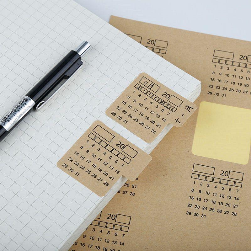 2 Sheets Kraft Paper Handwritten Calendar Notebook Index Label Sticker Calendar Sticker Organizer Kawaii Stationery