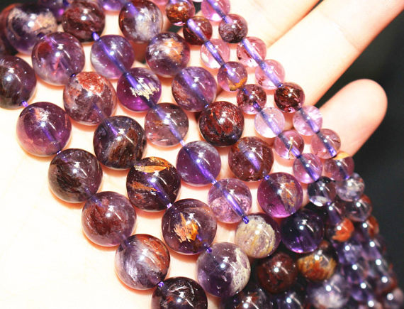 5PCS  4mm-10mm Natural Russican Amethyst Gemstones Round Loose Beads 15/'/'