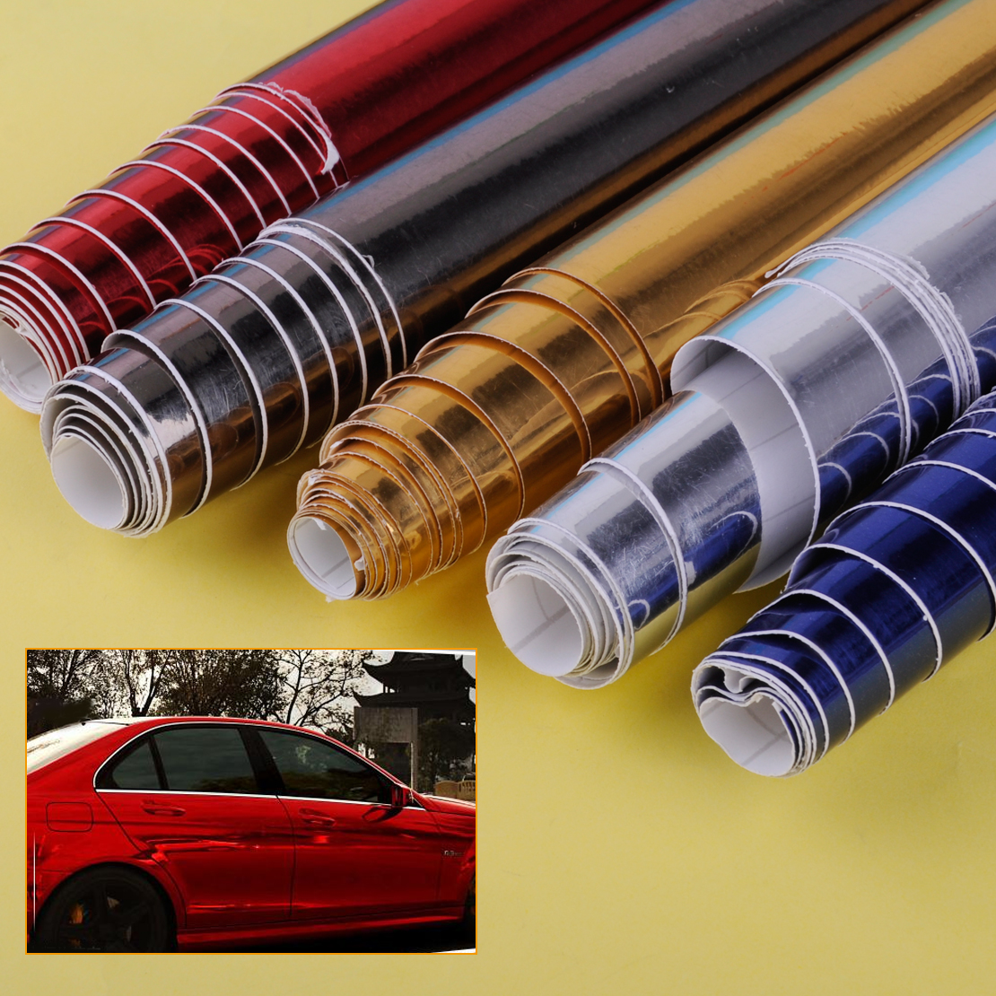 DWCX Car Styling Auto Glossy Chrome Mirror Vinyl Wrap Film Roll Sheet Sticker 150cmx15cm Fit for VW Audi BMW Honda Hyundai Ford car floor mats covers free shipping 5d for toyota honda for nissan hyundai buick for ford audi benz for bmw car etc styling