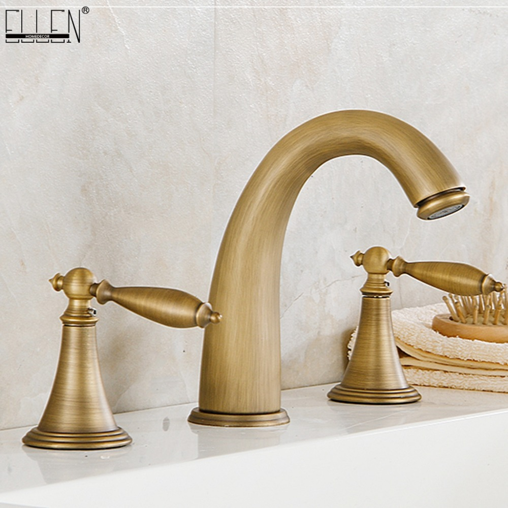 Widespread Bath Sink Faucet Double Handle Basin Sink Faucet Hot and Cold Water Mixer 3 Hole Bathroom Faucet ELF2001 oil rubbed bronze basin sink faucet dual handle 3 hole mixer tap hot and cold water widespread bathroom faucet