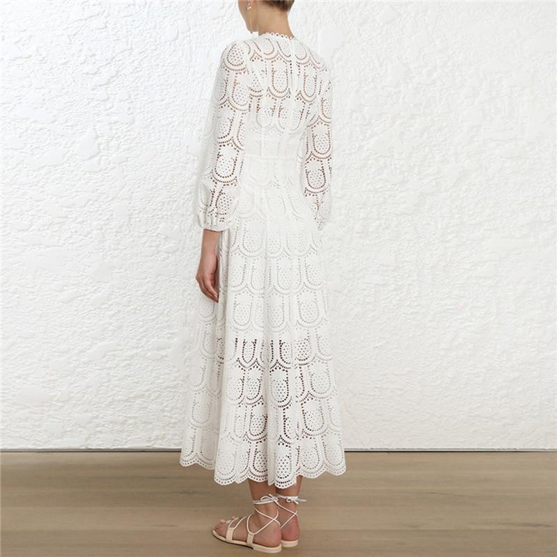 Femmes O Boho Manches Robe Cou Longue 2019 Broderie Out Dentelle Hollow Spring Vacances À Maxi Robes Travers Lanterne Voir xq80p