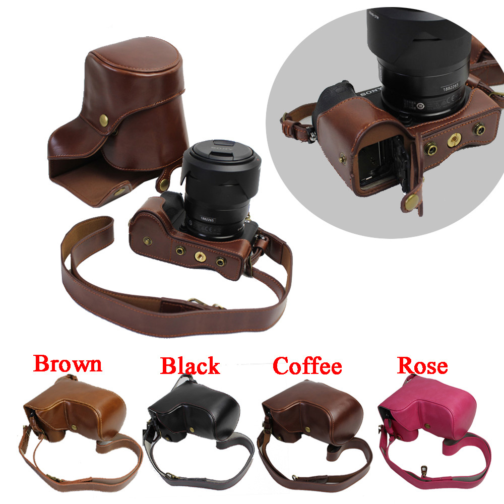 Retro Luxury Pu Leather Camera Video Case bag For Sony A6500 ILCE6500 Camera Cover With Shoulder Strap Open Battery Design protecive pu leather flip open case for sony m36h brown