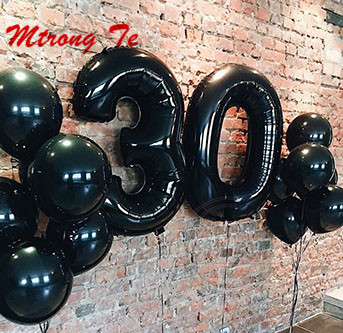 12pcs Lot 40inch Black Number 30 Digit Balloons Foil Helium Balloon 30th Years Old Birthday Party Inflatable 10 Latex Globos In Ballons Accessories From