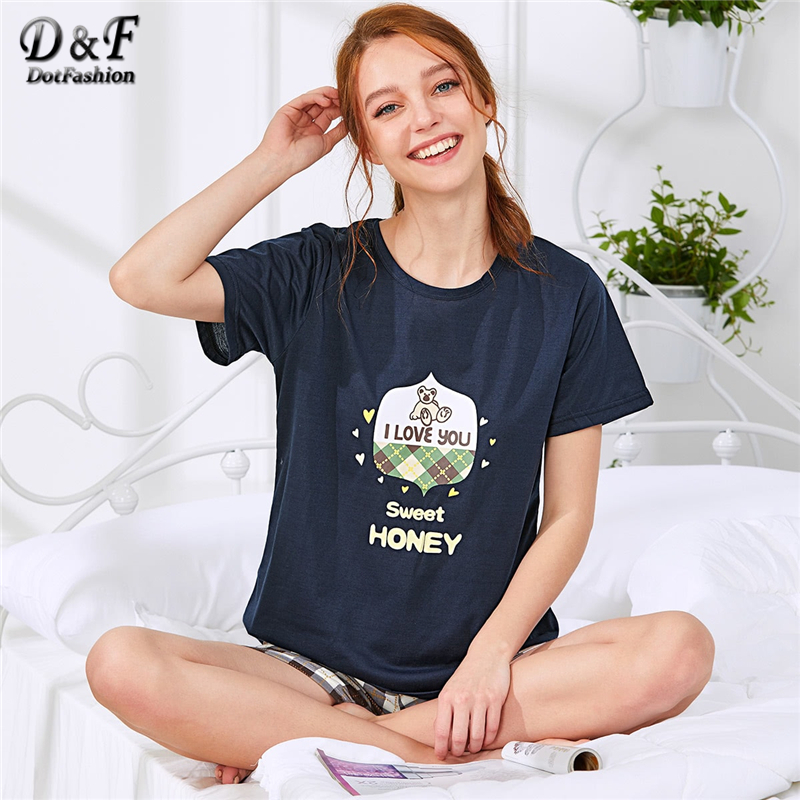 Dotfashion Bear Print Tee And Plaid Shorts PJ   Set   Women 2019 Summer Short Sleeve Nightwear Cartoon   Pajama     Sets   Preppy Loungewear
