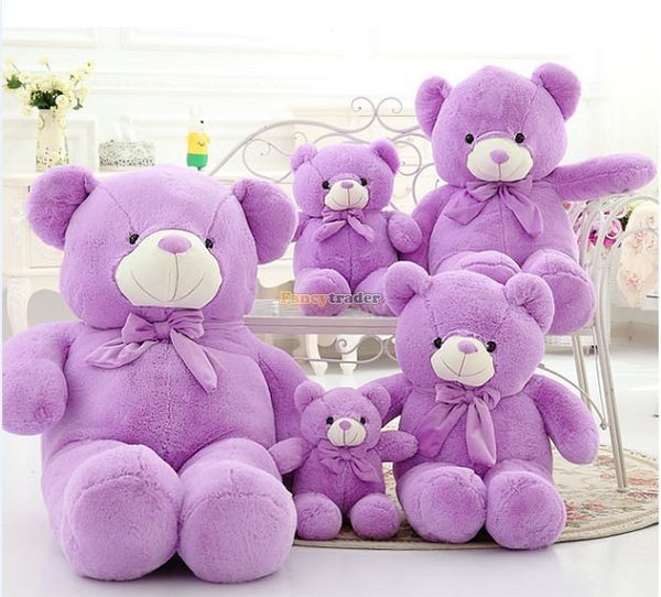 Fancytrader 1 pc 63\'\' 160cm Giant Cute Stuffed Soft Plush Lovely Fat Lavender Teddy Bear, Free Shipping FT50741 (6)