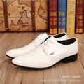 Mens Oxfords Moda Hombre Vestido de Zapatos de Cuero Del Dedo Del Pie Puntiagudo Pisos Oxford Zapatos De Los Hombres Británicos, Zapatos de Boda Blanco Zapatos Hombre
