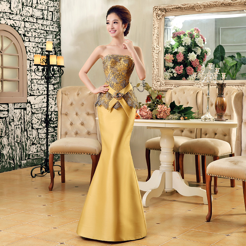 Gold Formal Dress Costume Bridal Evening Dress Fish Tail Evening