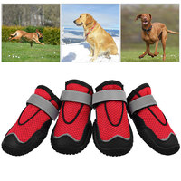 4PCS Pet Dogs Shoes Waterproof Breathable Mesh Outdoor Walking Dog Protection Paw Booties Night Safe Reflective Summer Shoes