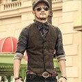 Marca Ropa de Hombre Moda Chaleco Otoño E Invierno Estilo de Inglaterra de Lana Hombres Outwear la Chaqueta Y el Chaleco Suave A2803