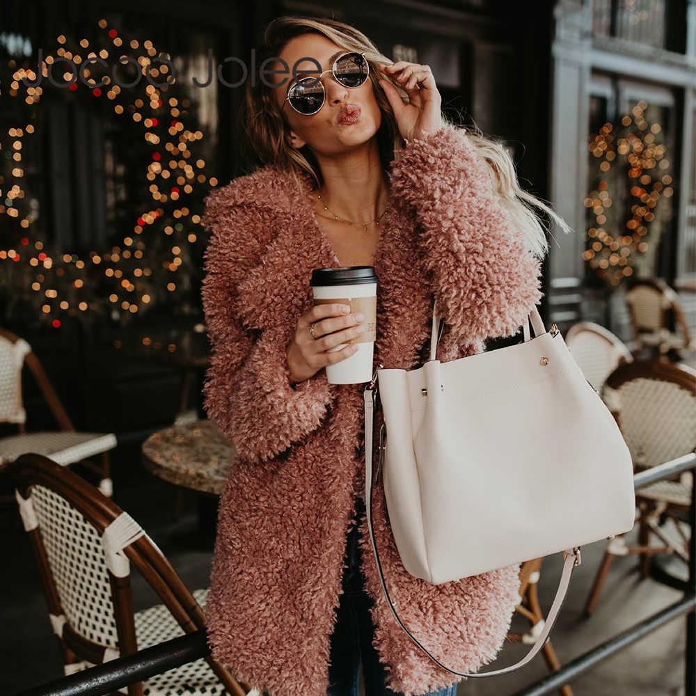 Jocoo Jolee пушистое пальто из искусственного меха, женское Утепленное зимнее пальто из искусственного меха розового и черного цвета, женская модная уличная одежда, кардиган, верхняя одежда